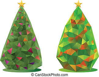 abstract, vector, bomen, kerstmis
