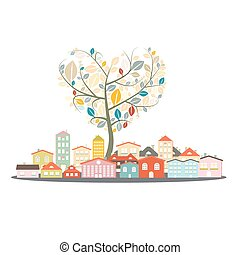 Abstract Vector Buildings - City or Town with Heart Shaped Tree Isolated on White Background