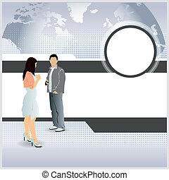 Abstract vector business background with managers