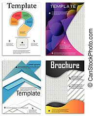 Abstract vector business template set. Brochure layout, cover modern design annual report, poster, A4 flyer with color squares, triangles, diagonal geometric shapes lines with texture background.