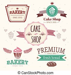 Abstract vector cake vintage logo elements set. Cakes, bread, bakery. Logo design.