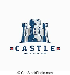 Abstract Vector Castle Label, Sign or Logo Template. Fortress Symbol. Kingdom Icon. Tower Silhouette with Flags and Typography.