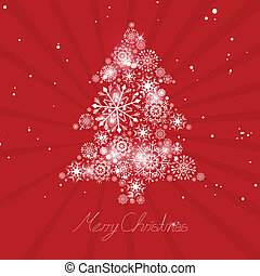 Vector Illustration of an Abstract Christmas Tree with Snowflakes