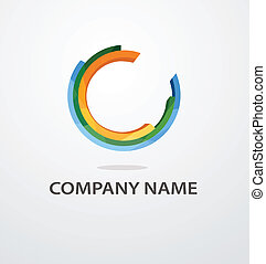 Abstract vector circle color logo design with space for text