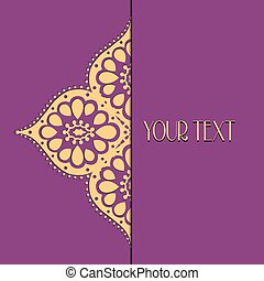 Abstract vector circle floral ornament. Lace pattern design....