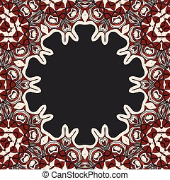 Abstract vector circle floral ornamental border frame