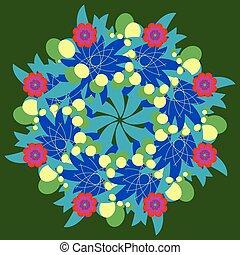 Abstract vector circle floral ornamental fractal
