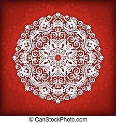 Abstract vector circle floral ornamental border.