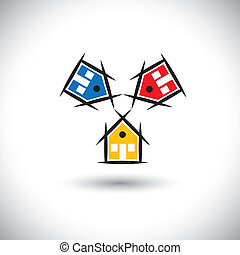 abstract vector circle of colorful houses or home icons