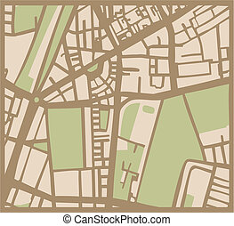 Abstract vector city plan map - Abstract vector city map ...