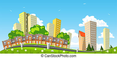 Abstract vector city, row building. Illustration
