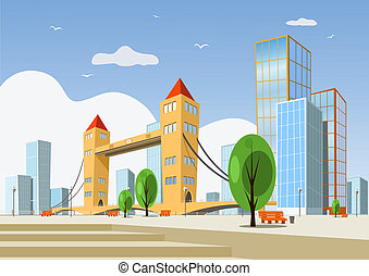 Abstract vector city - summer