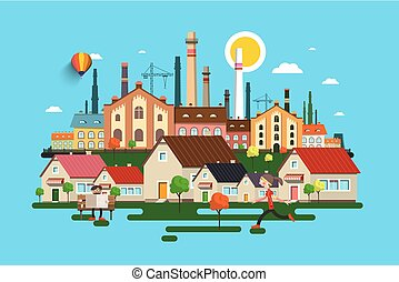 Abstract Vector City. Town with Buildings, Houses, Factory and People.