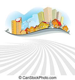 Abstract vector city - winter