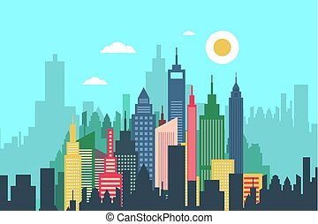 Abstract Vector City with High Buildings - Skyscrapers