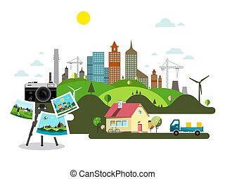 Abstract Vector City with Retro Camera