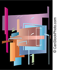 Abstract - Modern abstract composition on a black...