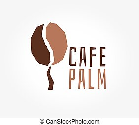 Abstract vector coffe tree logo icon concept. Logotype template for branding