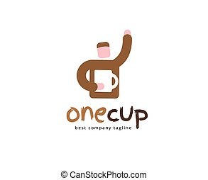 Abstract vector coffee man logo icon concept. Logotype template for branding