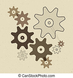 Abstract Vector Cogs - Gears Illustration on Recycled Paper Background