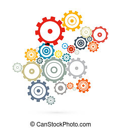 Abstract Vector Cogs - Gears Isolated on White Background