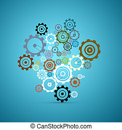 Abstract Vector Cogs - Gears Set on Blue Background