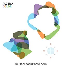 Abstract vector color map of Algeria