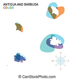 Abstract vector color map of Antigua and Barbuda