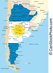 Argentina - Abstract vector color map of Argentina country ...