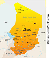 Chad country - Abstract vector color map of Chad country