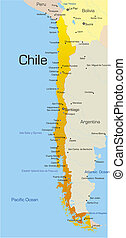 Abstract vector color map of Chile country