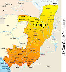 Congo country - Abstract vector color map of Congo country