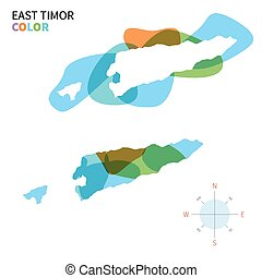 Abstract vector color map of East Timor with transparent...