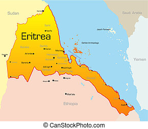Abstract vector color map of Eritrea country