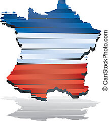 Abstract vector color map of France country coloured by flag...