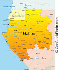 Abstract vector color map of Gabon country
