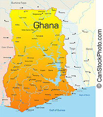 Abstract vector color map of Ghana country