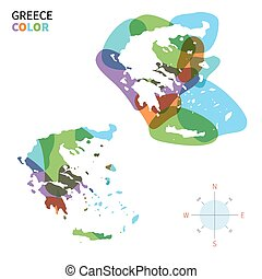 Abstract vector color map of Greece