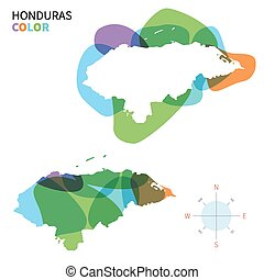 Abstract vector color map of Honduras with transparent paint...
