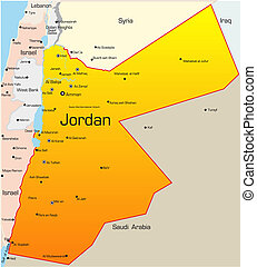 Jordan country - Abstract vector color map of Jordan country