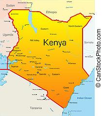 Kenya country - Abstract vector color map of Kenya country