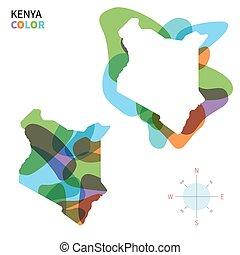 Abstract vector color map of Kenya