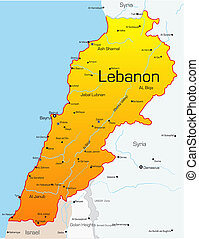 Abstract vector color map of Lebanon country