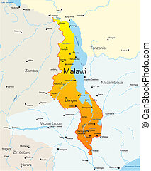 Malawi country - Abstract vector color map of Malawi country