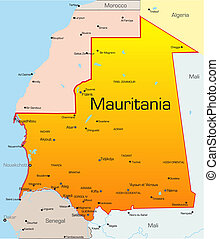 Mauritania country - Abstract vector color map of Mauritania...