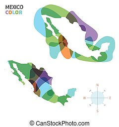 Abstract vector color map of Mexico