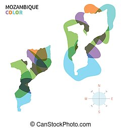 Abstract vector color map of Mozambique