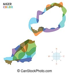 Abstract vector color map of Niger with transparent paint...