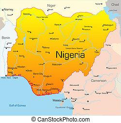 Nigeria country - Abstract vector color map of Nigeria ...