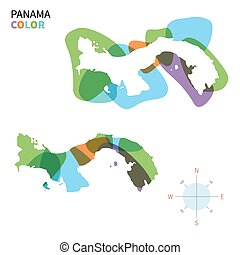 Abstract vector color map of Panama with transparent paint...